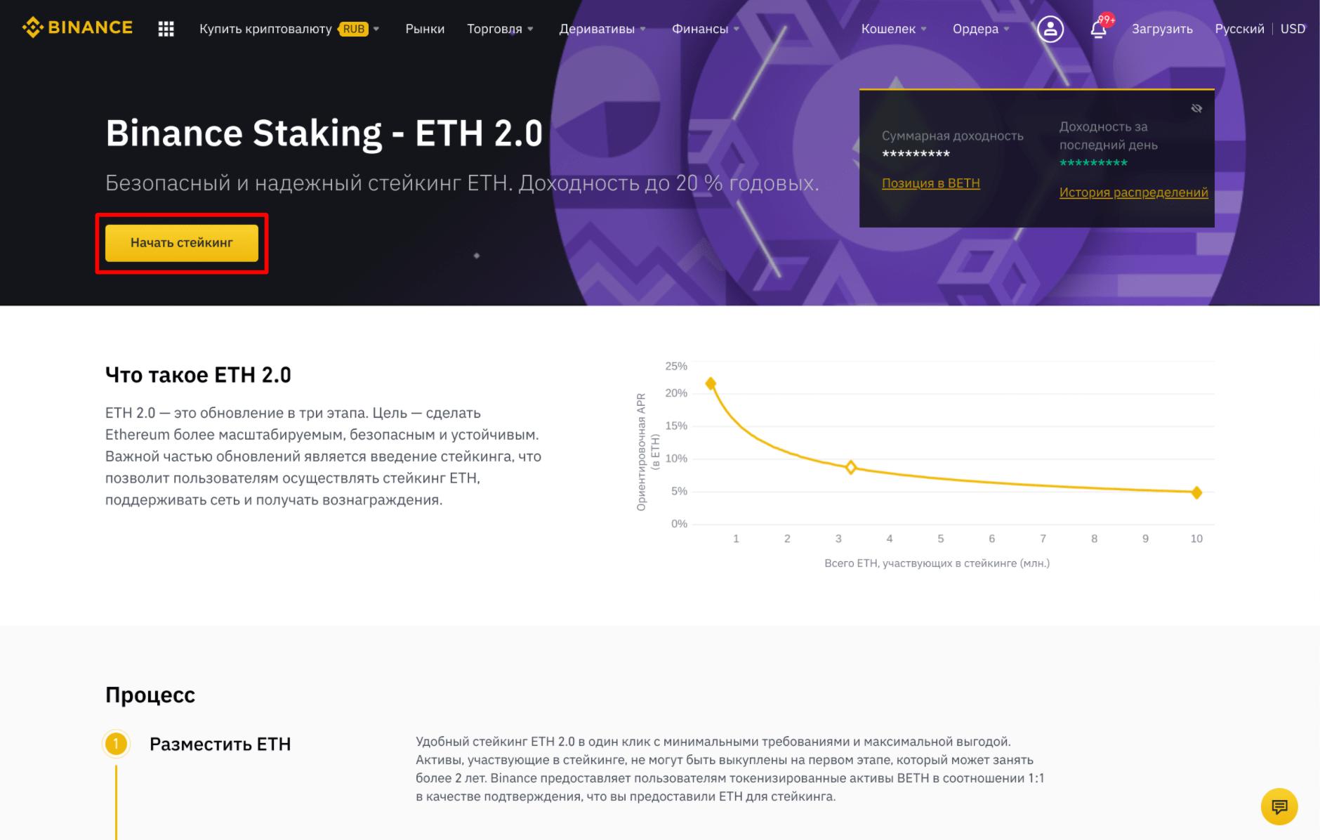 Стейкинг ETH 2.0 на Binance