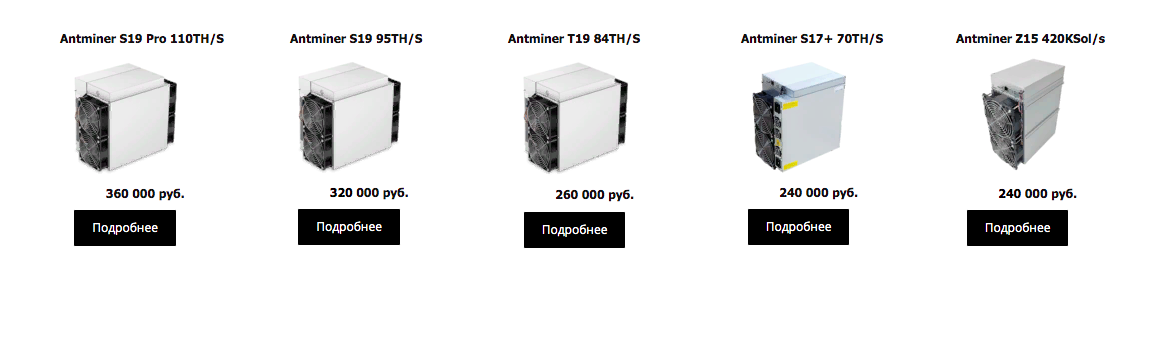 Цены на майнеры серии Antminer