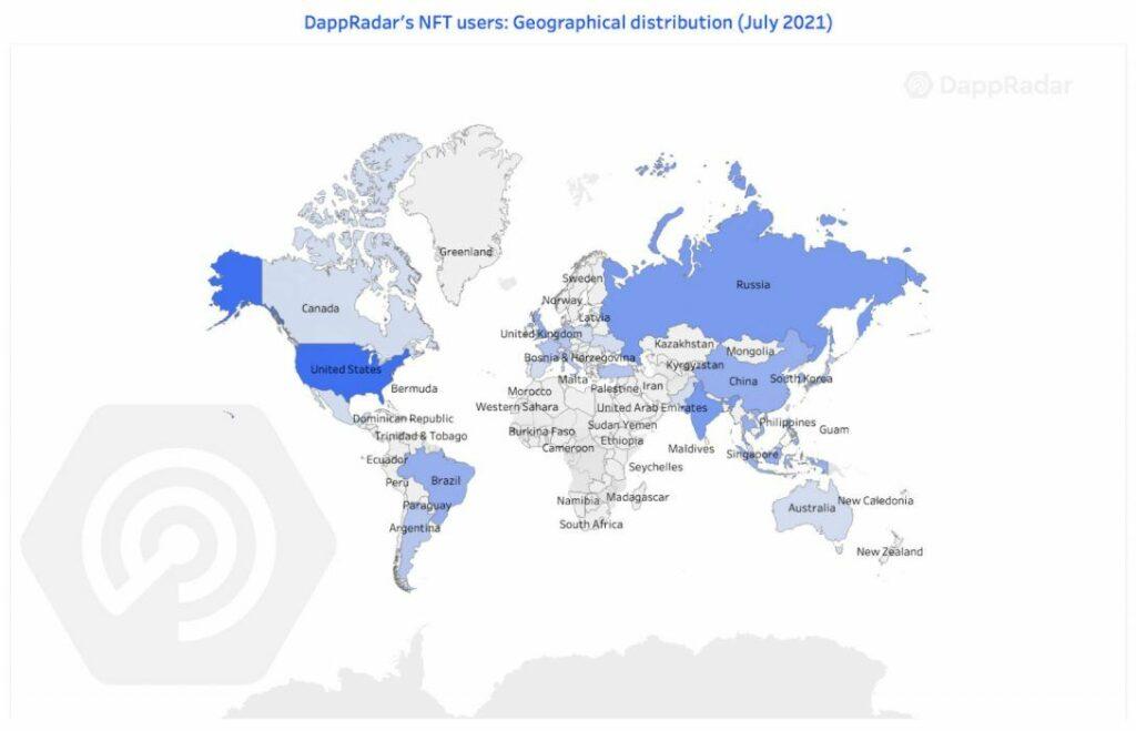 Cтраны активно использующиеNFT