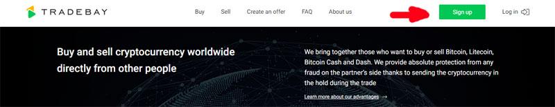 Регистрация на бирже Tradebay