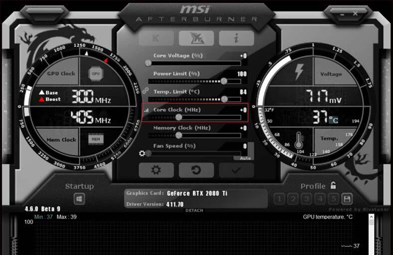 Управление параметромcore voltageв настройках MSI Afterburner
