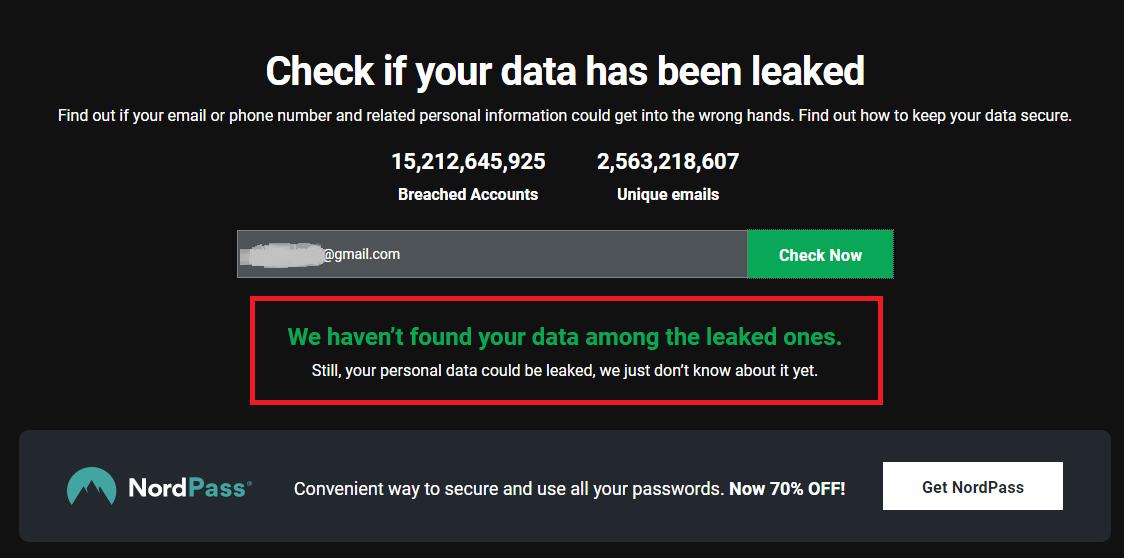 Уведомление о том, что паролей от этой электронной почты в интернете нет