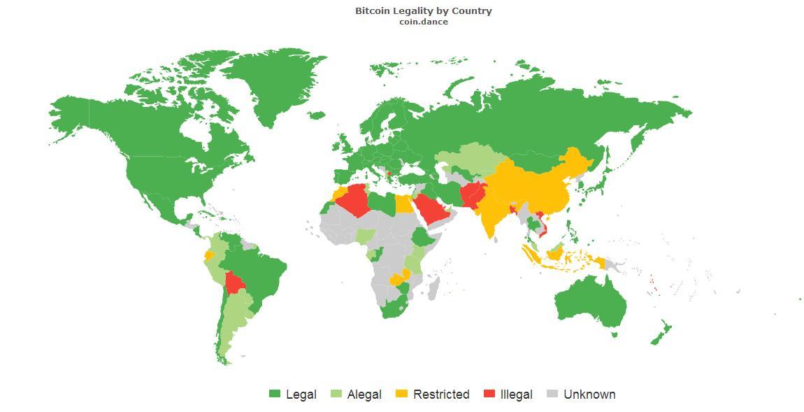 Страны где биткоин полностью или частично легализован
